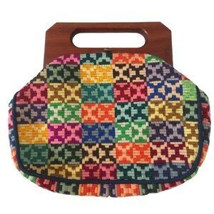 Vintage Handmade Colorful Needlepoint Bermuda Bag